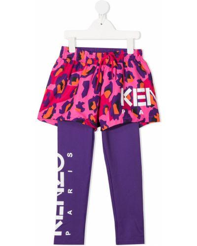 Różowe legginsy z printem Kenzo Kids