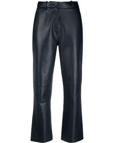 Синие кожаные укороченные брюки на пуговицах Arma