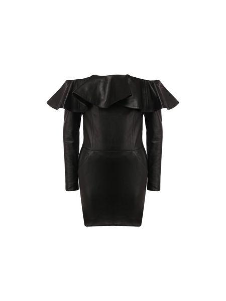 Платье кожаное Saint Laurent