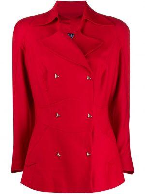 Приталенный красный пиджак двубортный Thierry Mugler Pre-owned
