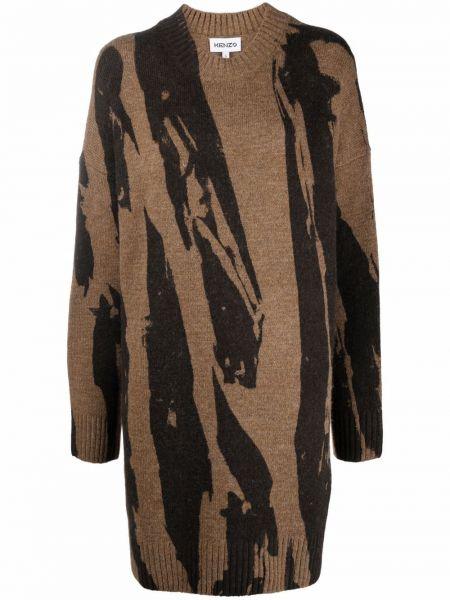 Платье макси с длинными рукавами - коричневое Kenzo