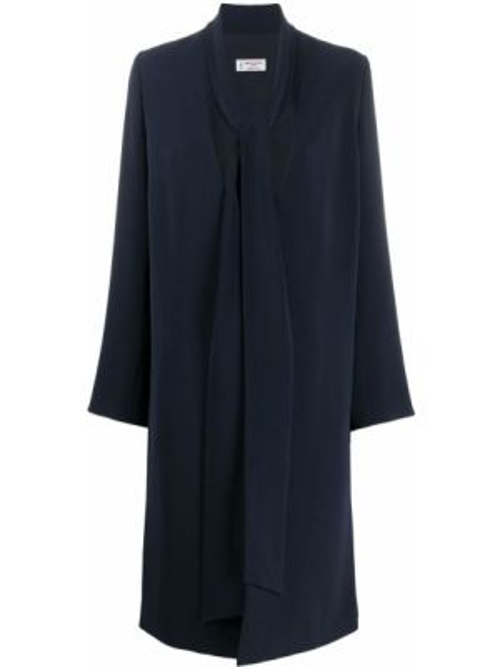 Синее длинное пальто с капюшоном с V-образным вырезом Alberto Biani