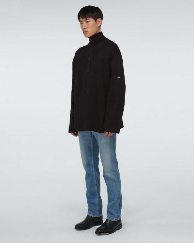Prążkowany czarny kardigan bawełniany Balenciaga