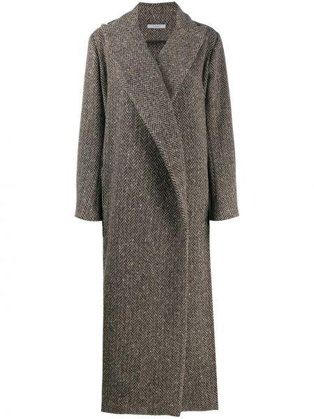 Klasyczny brązowy płaszcz wełniany Dusan