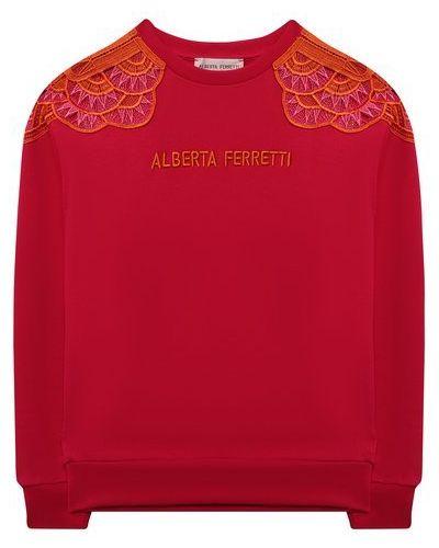Хлопковый розовый свитер Alberta Ferretti Junior