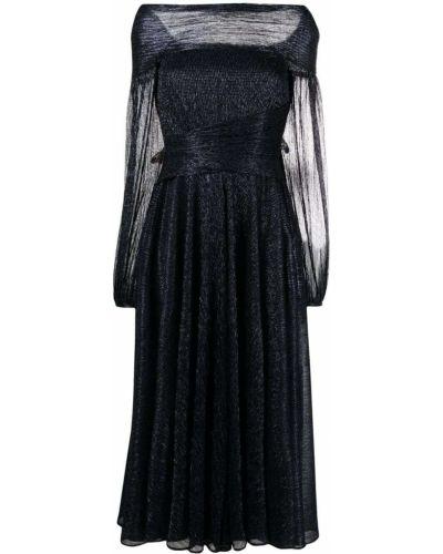 Платье миди с открытыми плечами - синее Talbot Runhof