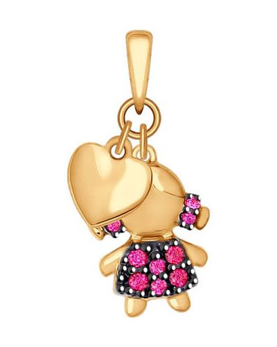 Золотая подвеска золотой розовый Sokolov