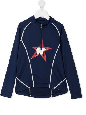 Niebieska długa kurtka z długimi rękawami z printem Perfect Moment Kids