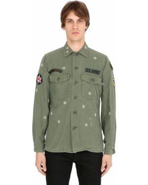 Zielona klasyczna koszula bawełniana z haftem As65