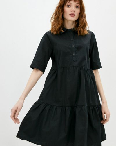 Черное платье-рубашка Defacto