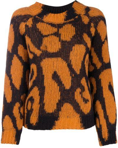 Оранжевый шерстяной джемпер в рубчик с вырезом Stella Mccartney