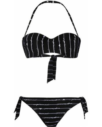 Пляжные черные бикини с вырезом Emporio Armani
