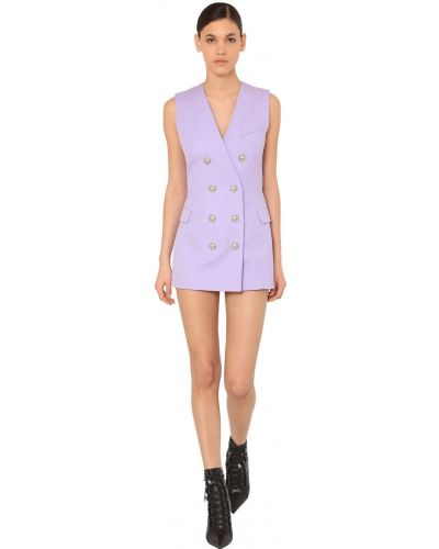 Платье мини с декольте - сиреневое Balmain