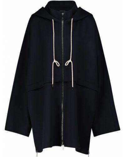 Расклешенная шерстяная синяя длинная куртка 's Max Mara