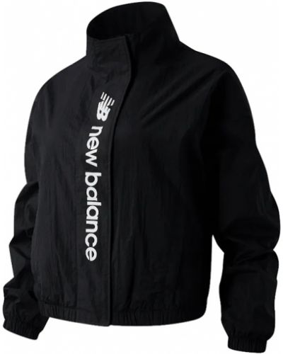 Czarna kurtka z nylonu z długimi rękawami New Balance