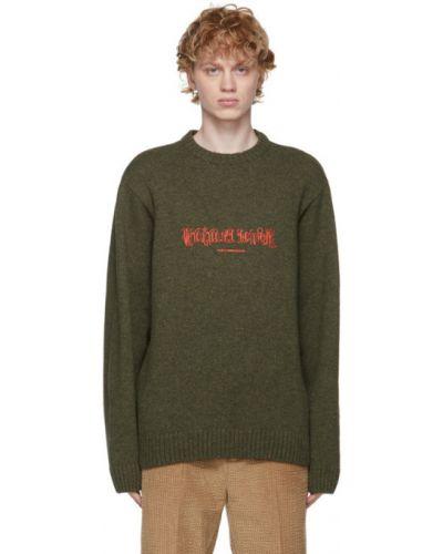 Зеленый армейский длинный свитер с воротником Han Kjøbenhavn