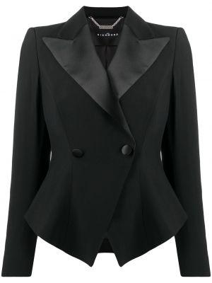 Черный удлиненный пиджак двубортный на пуговицах John Richmond