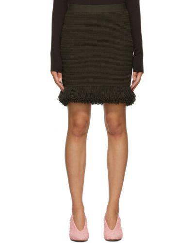 Bawełna zielony spódnica mini frędzlami Bottega Veneta