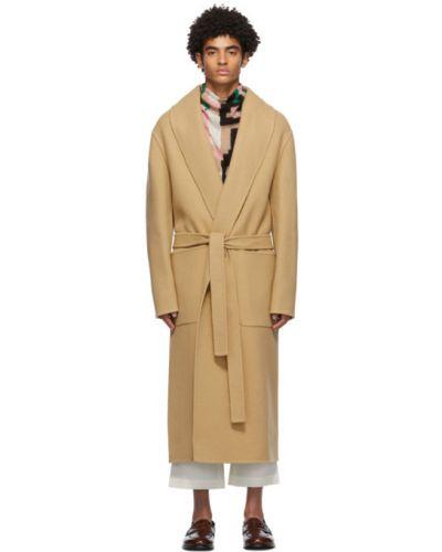 Brązowy skórzany długi płaszcz z kołnierzem z kieszeniami Loewe