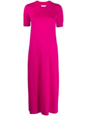 Прямое розовое платье миди с вырезом с короткими рукавами Barrie