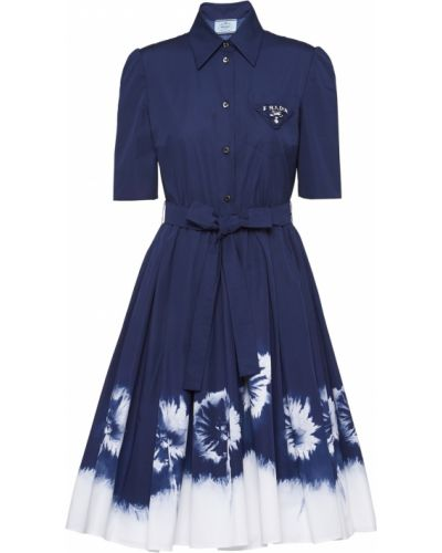 Синее платье с принтом Prada