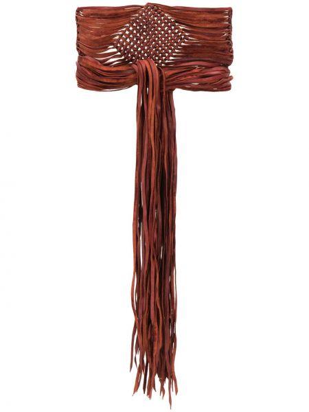 Коричневый кожаный ремень с поясом Caravana