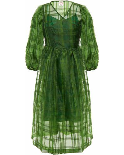 Зеленое платье миди из органзы с манжетами Shrimps