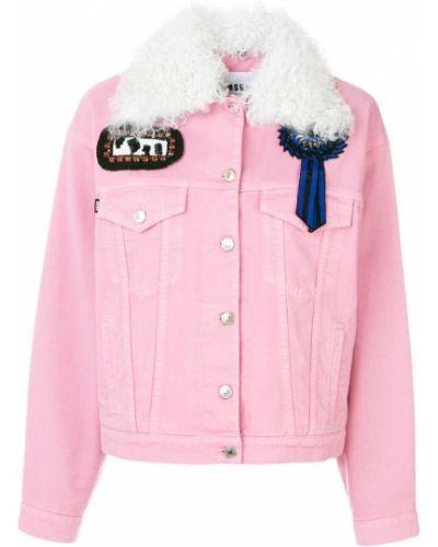 Джинсовая куртка с нашивками хлопковая Msgm