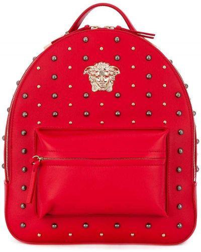 Кожаный рюкзак с заклепками с логотипом Versace