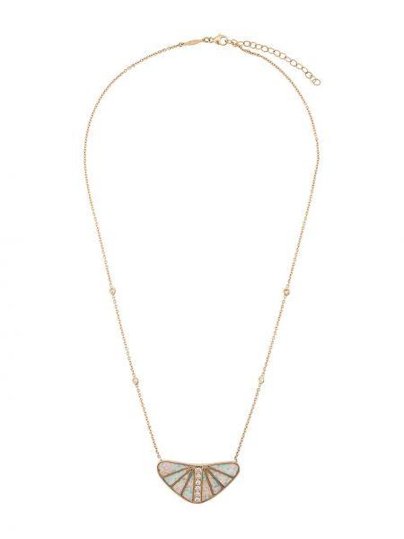 Тонкое золотистое желтое ожерелье с бриллиантом Jacquie Aiche
