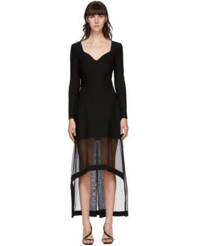 Асимметричное платье макси с длинными рукавами с V-образным вырезом с воротником Alexander Mcqueen