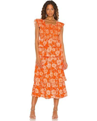 Оранжевое текстильное платье макси Saylor