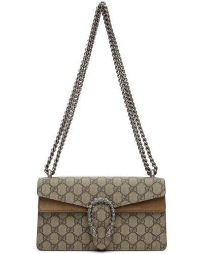 Бежевая сумка на цепочке из канваса с карманами Gucci