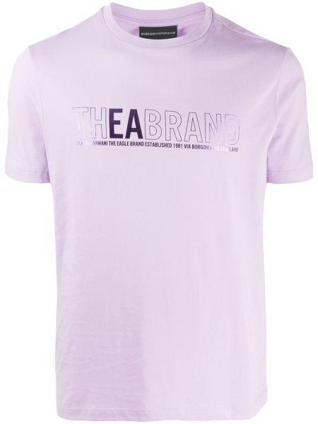 Koszula krótkie z krótkim rękawem fioletowy karmazynowy Emporio Armani