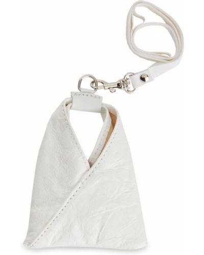 Серебряный кожаный брелок с опушкой Mm6 Maison Margiela