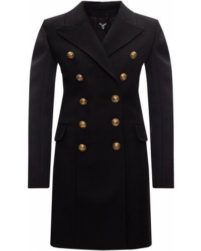 Czarny długi płaszcz wełniany Balmain