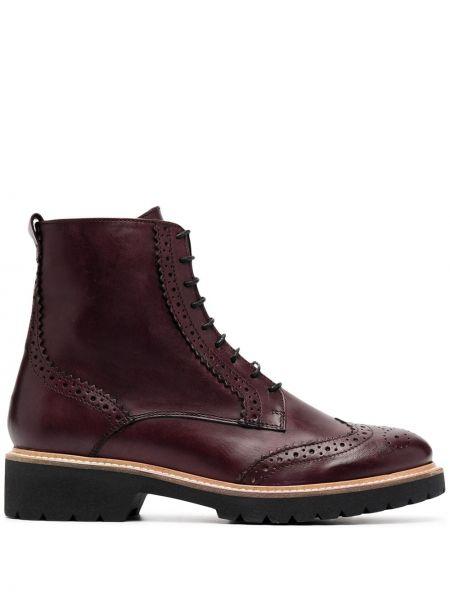 Кожаные фиолетовые ботинки на каблуке на шнуровке на каблуке Carvela