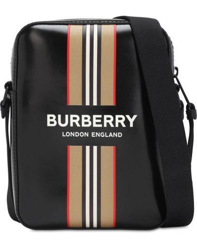 Czarny z paskiem brezentowy torba na ramieniu z paskami Burberry