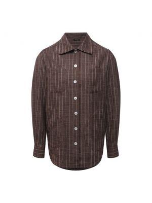 Мягкая коричневая шелковая блузка Kiton