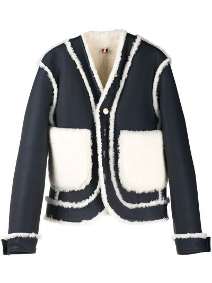 Skórzany długa kurtka z mankietami z kieszeniami z długimi rękawami Thom Browne
