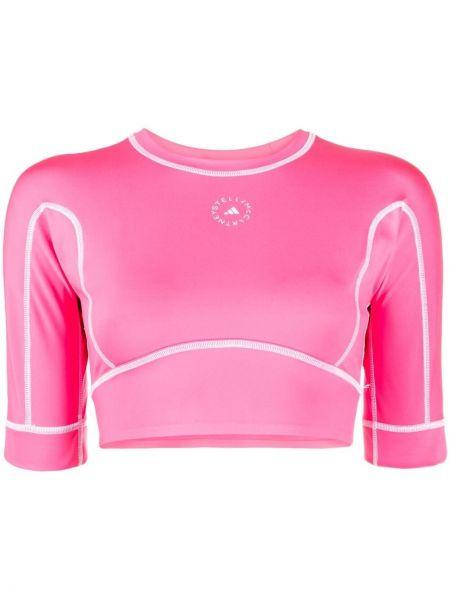 Розовый кроп-топ с короткими рукавами для йоги Adidas By Stella Mccartney