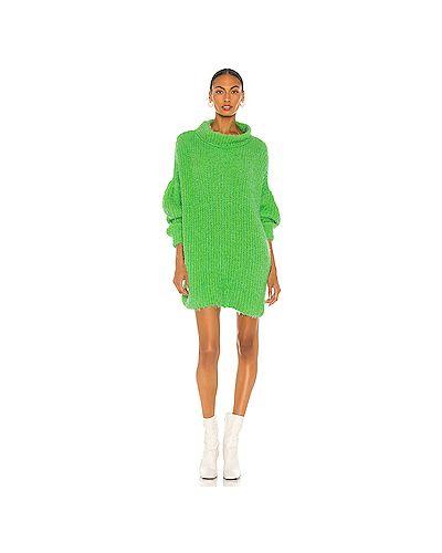 Зеленый пушистый свитер свободного кроя Free People