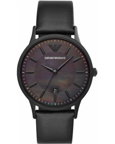 Czarny zegarek kwarcowy z paskiem skórzany Emporio Armani