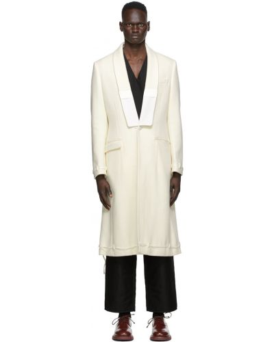 Biały długi płaszcz wełniany z długimi rękawami Undercover