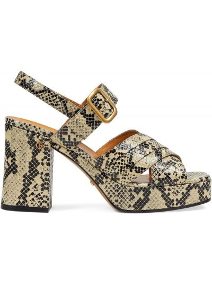 Sandały skórzane na obcasie - beżowe Gucci