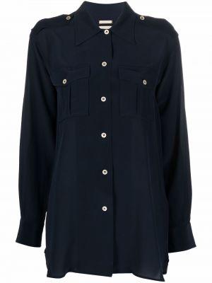 Шелковая рубашка - синяя Massimo Alba