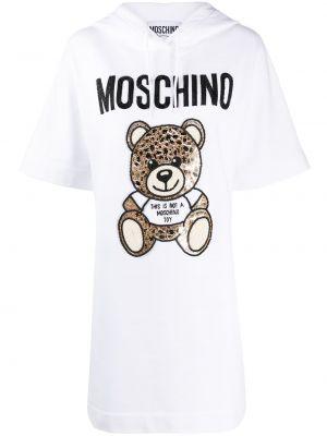 Хлопковое белое платье с капюшоном Moschino