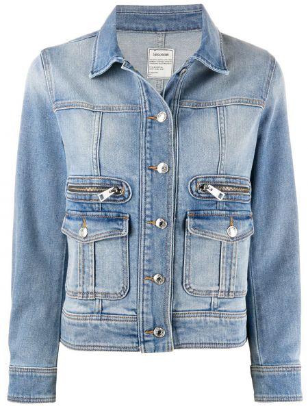 Хлопковая синяя джинсовая куртка на молнии с карманами Zadig&voltaire