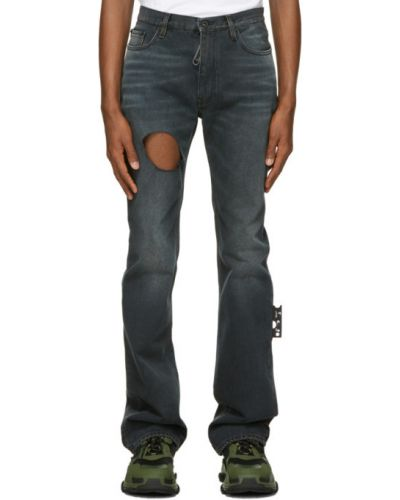 Skórzany czarny jeansy z łatami Off-white