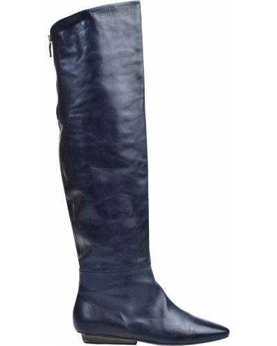 Ботфорты на каблуке кожаные синий Vic Matie